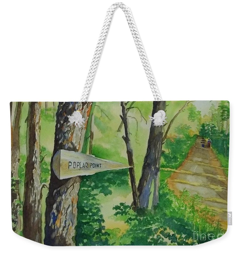 Poplar Point Camp Weekender Tote Bag featuring the painting Poplar Point Camp by Lise PICHE