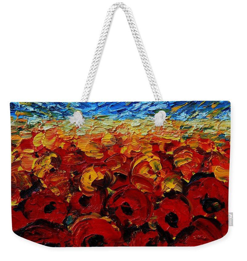 Poppies2 Weekender Tote Bag featuring the painting Poppies 2 by Mona Edulesco