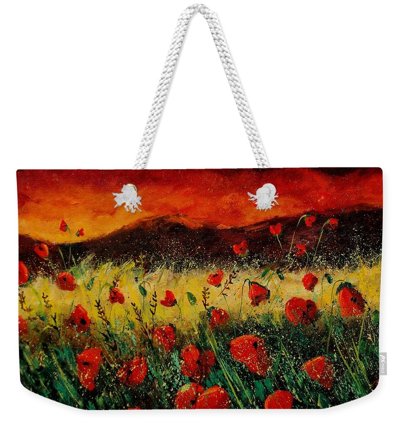 Poppies Weekender Tote Bag featuring the painting Poppies 68 by Pol Ledent