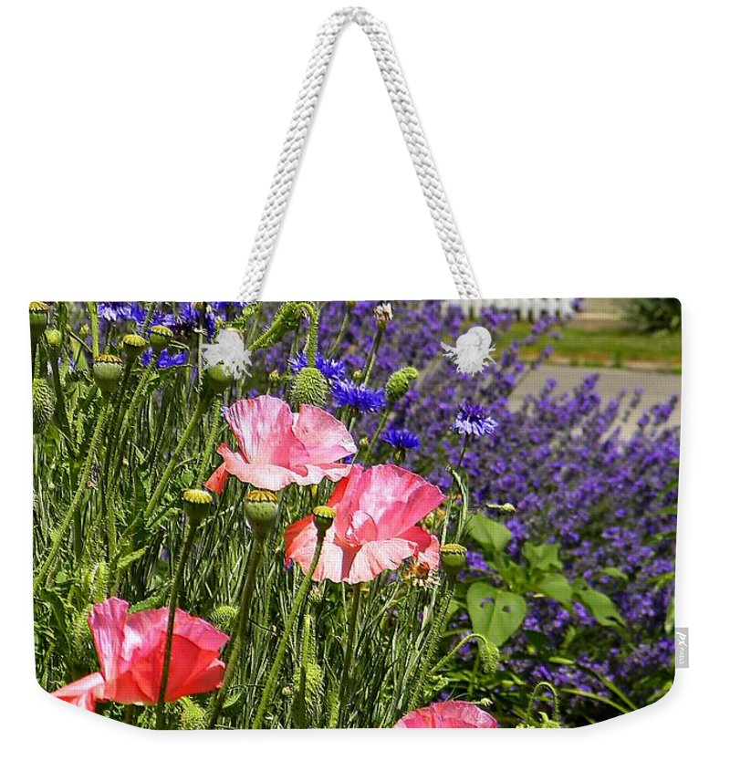Garden Weekender Tote Bag featuring the photograph Poppies And Lavender by Chris Berry