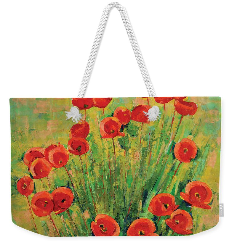 Poppies Weekender Tote Bag featuring the painting Poppies by Iliyan Bozhanov