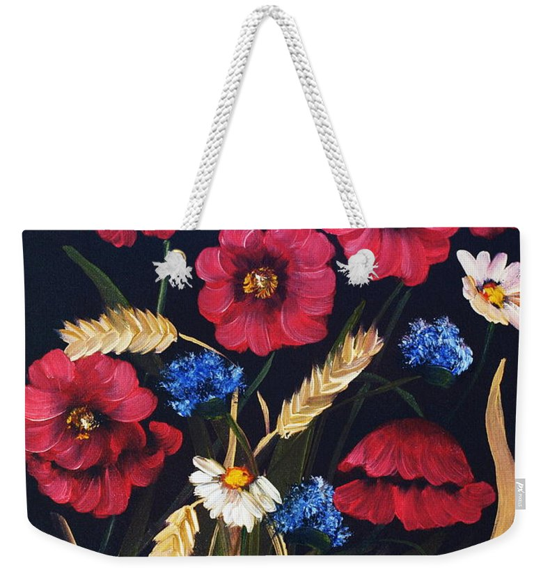 Floral Weekender Tote Bag featuring the painting Poppies In Oils by Corina Hogan