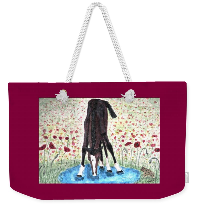 Pony Weekender Tote Bag featuring the painting Poppies N Puddles by Angela Davies