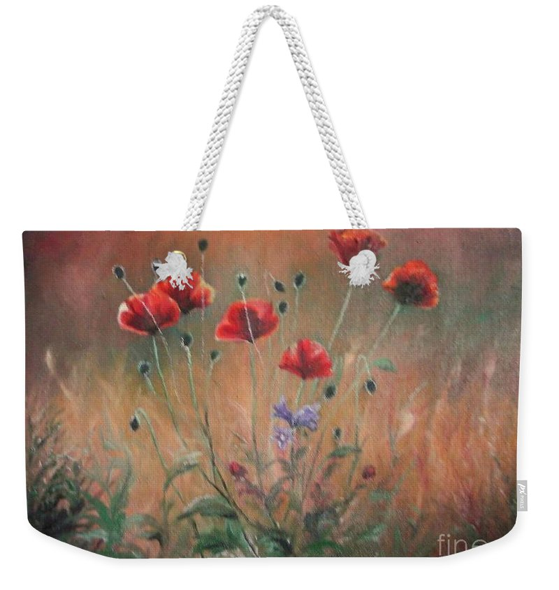 Flower Weekender Tote Bag featuring the painting Poppies by Sorin Apostolescu