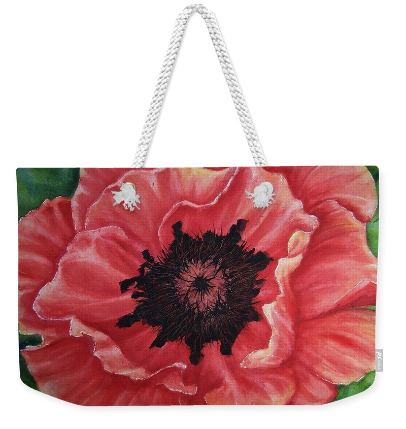 Poppy Weekender Tote Bag featuring the painting Poppy by Conni Reinecke