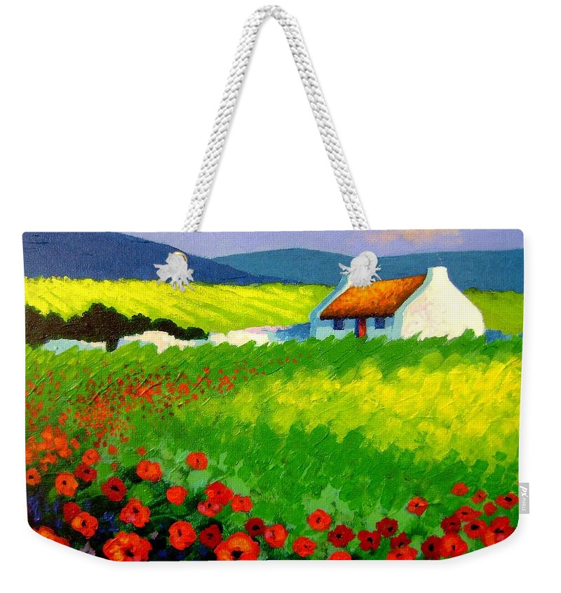 Ireland Weekender Tote Bag featuring the painting Poppy Field - Ireland by John Nolan