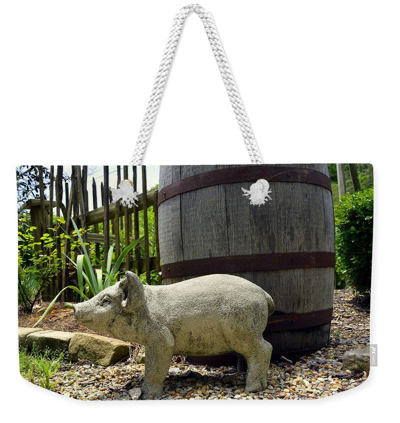 Pig Weekender Tote Bag featuring the photograph Pork Barrel by Kathy Barney