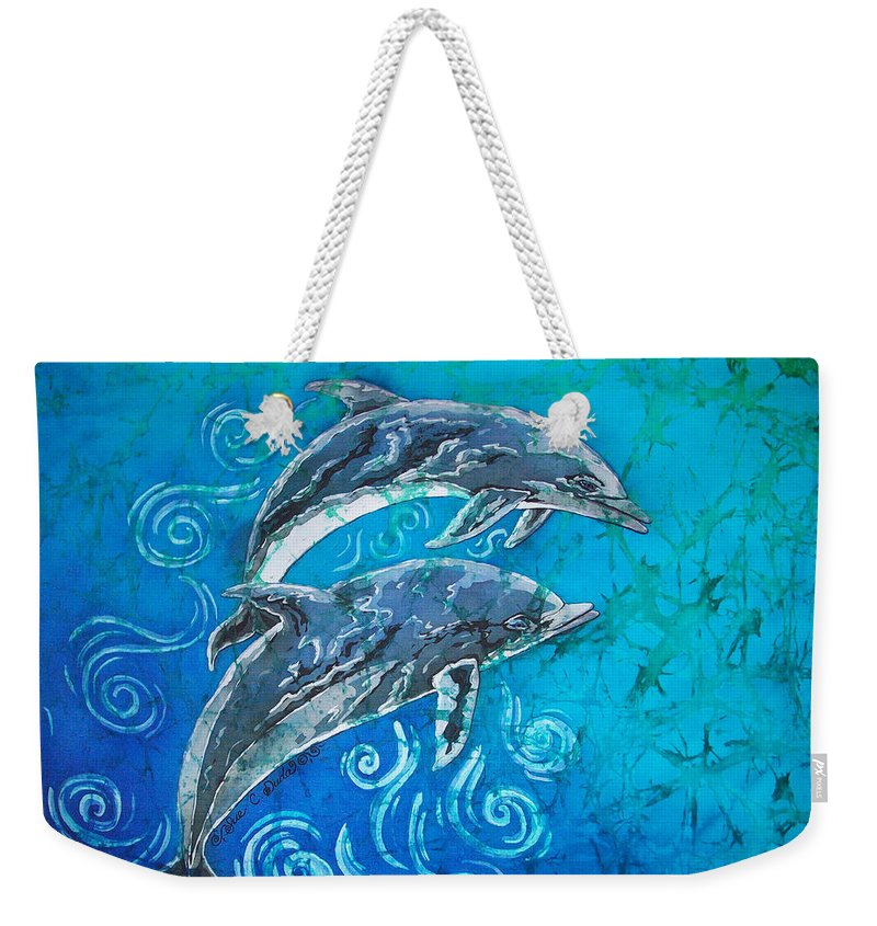 Porpoise Weekender Tote Bag featuring the painting Porpoise Pair by Sue Duda