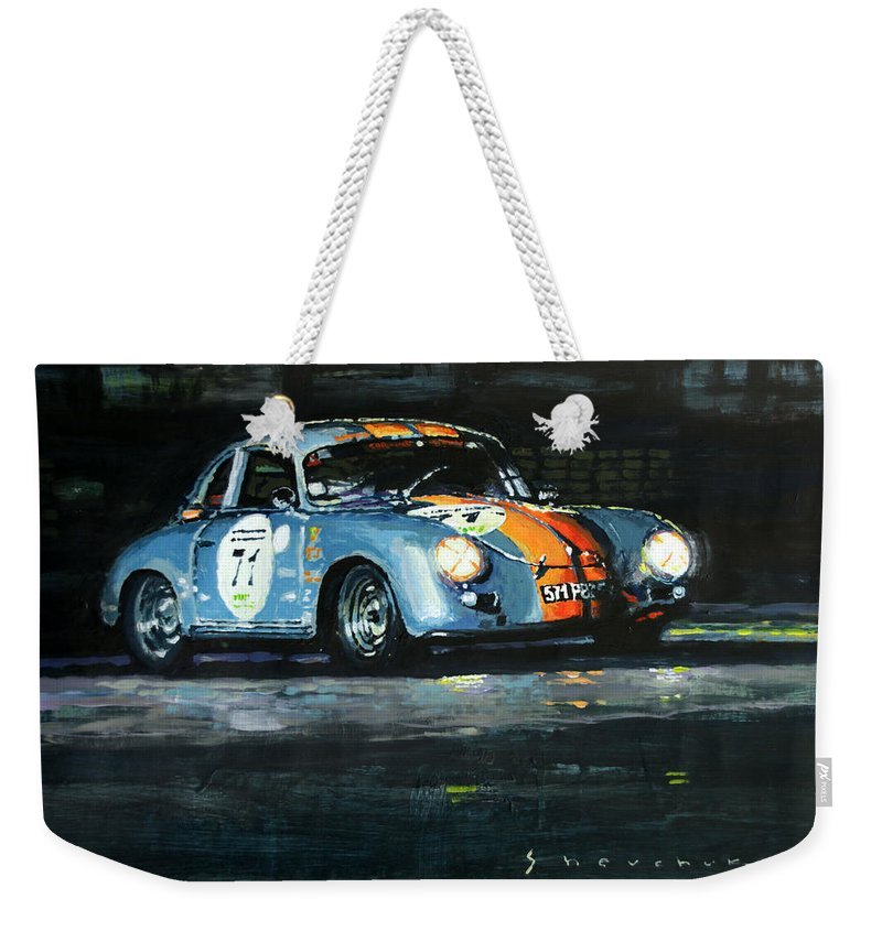 Acrilic Weekender Tote Bag featuring the painting Porsche 356 A 1959 Le Mans Classic 2010 by Yuriy Shevchuk