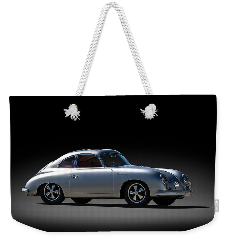 Silver Weekender Tote Bag featuring the digital art Porsche 356 Outlaw by Douglas Pittman