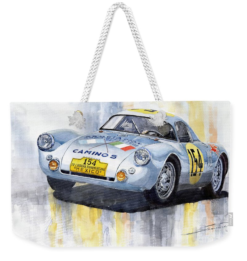 Watercolor Weekender Tote Bag featuring the painting Porsche 550 Coupe 154 Carrera Panamericana 1953 by Yuriy Shevchuk