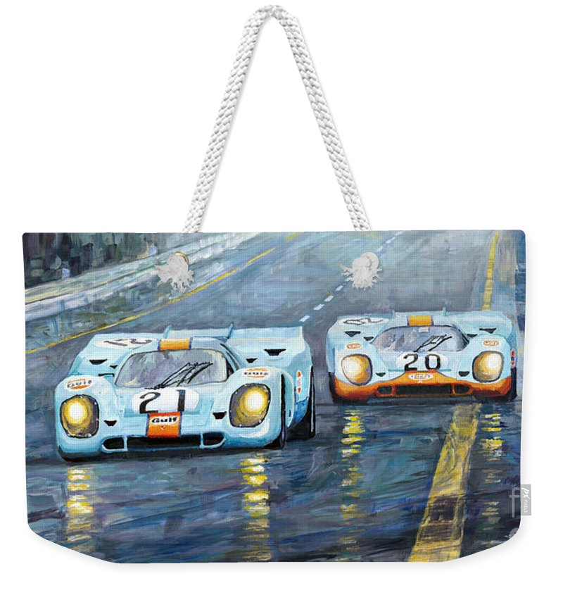 Automotive Weekender Tote Bag featuring the painting Porsche 917 K Gulf Spa Francorchamps 1971 by Yuriy Shevchuk