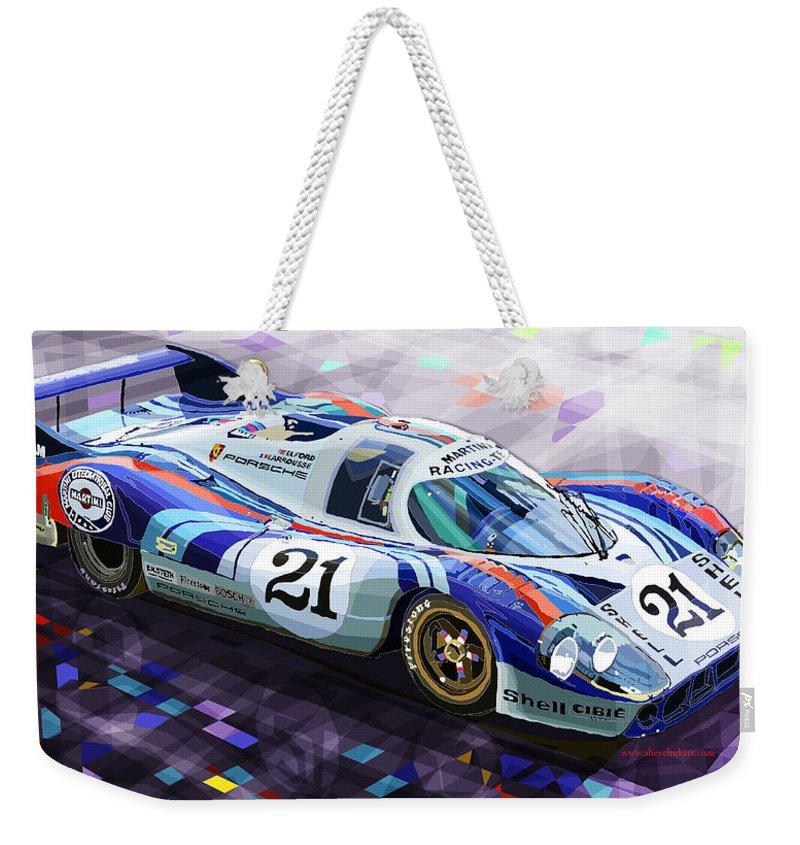 Automotive Weekender Tote Bag featuring the digital art Porsche 917 Lh Larrousse Elford 24 Le Mans 1971 by Yuriy Shevchuk