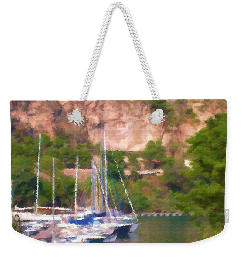 Blue Weekender Tote Bag featuring the painting Port And Palace by Jeffrey Kolker