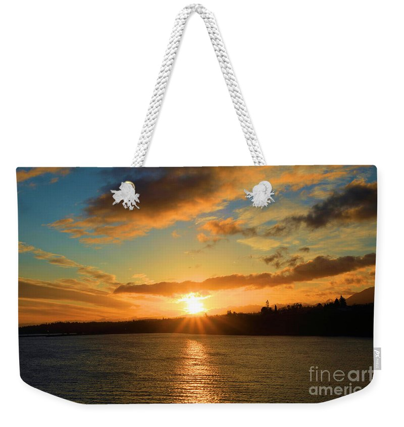 Port Angles Weekender Tote Bag featuring the photograph Port Angeles Sunburst by Adam Jewell