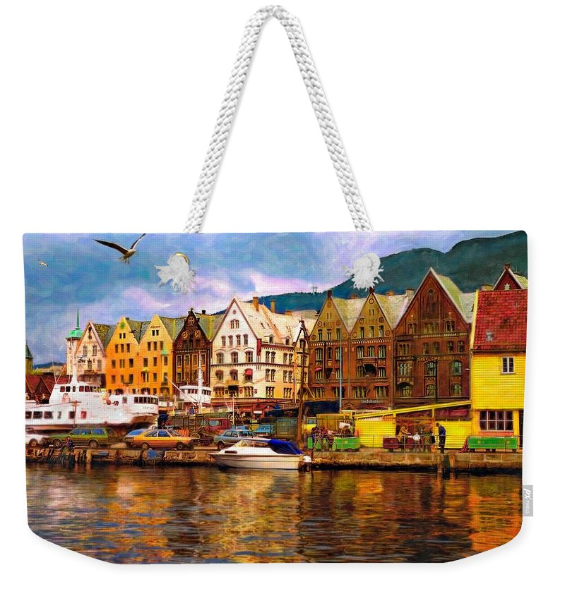 Alesund Weekender Tote Bag featuring the photograph Port Life Watercolor by Steve Harrington