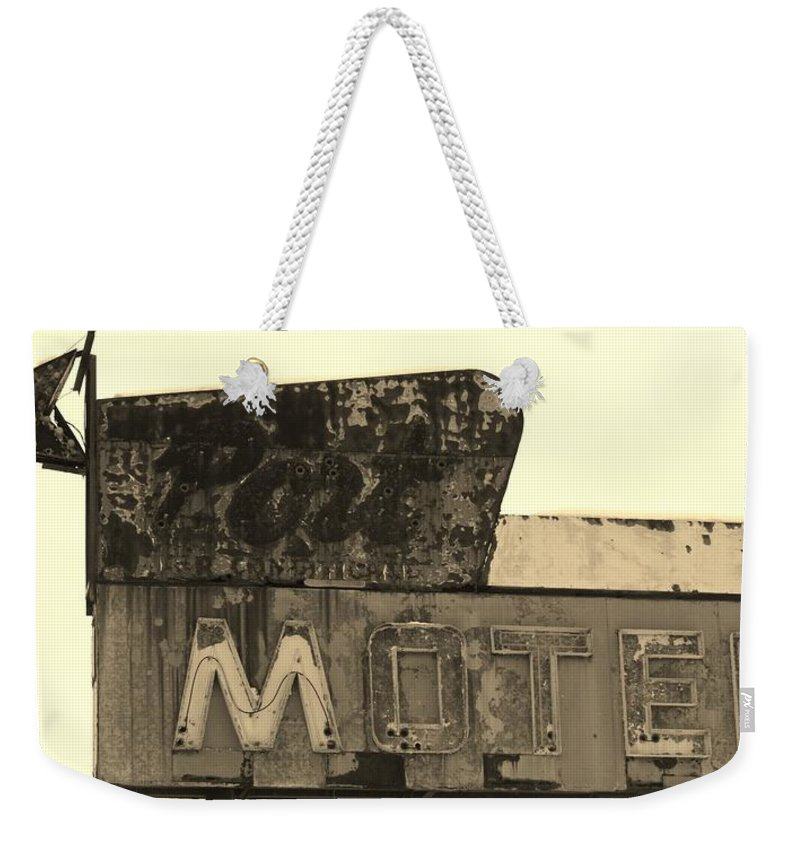 Sepia Weekender Tote Bag featuring the photograph Port Motel Is Closed by Michael Porchik