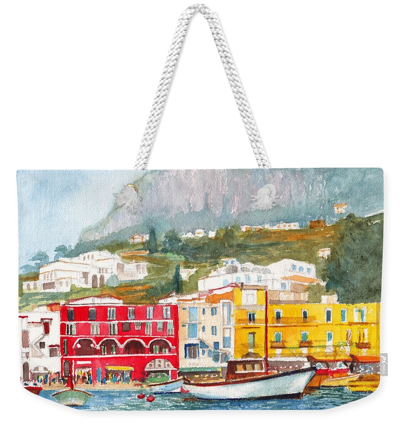 Port Weekender Tote Bag featuring the painting Port Of Capri by Dai Wynn