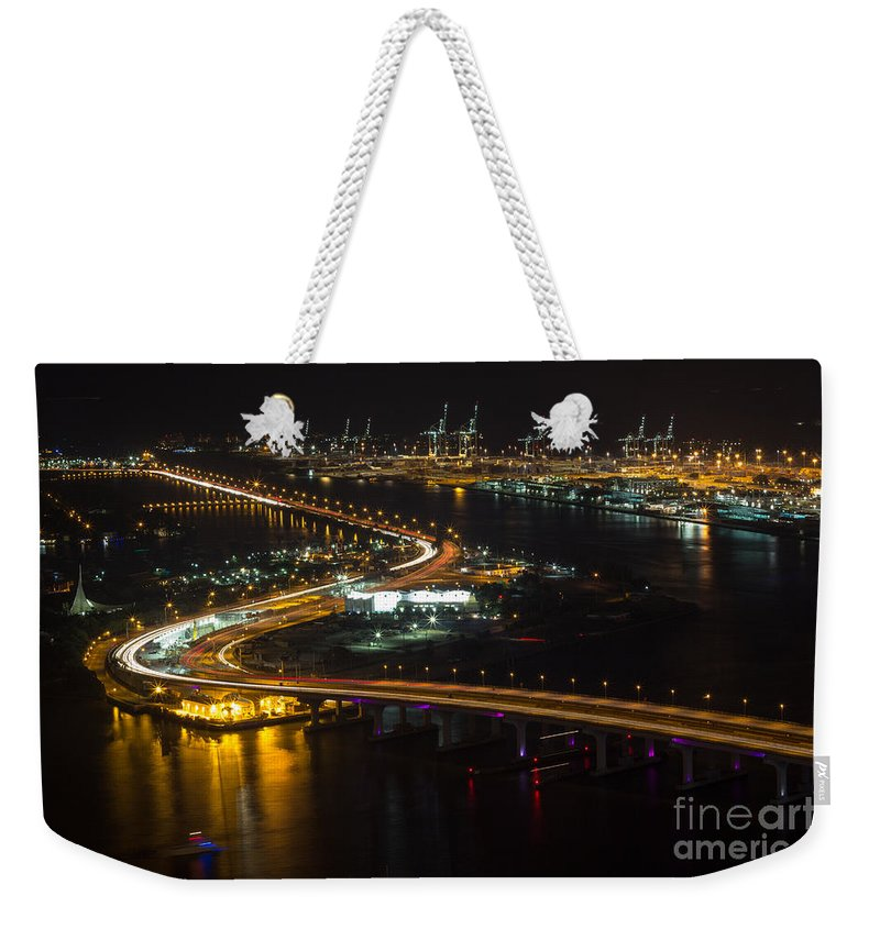 Port Of Miami Weekender Tote Bag featuring the photograph Port Of Miami Macarthur Causeway by Rene Triay Photography