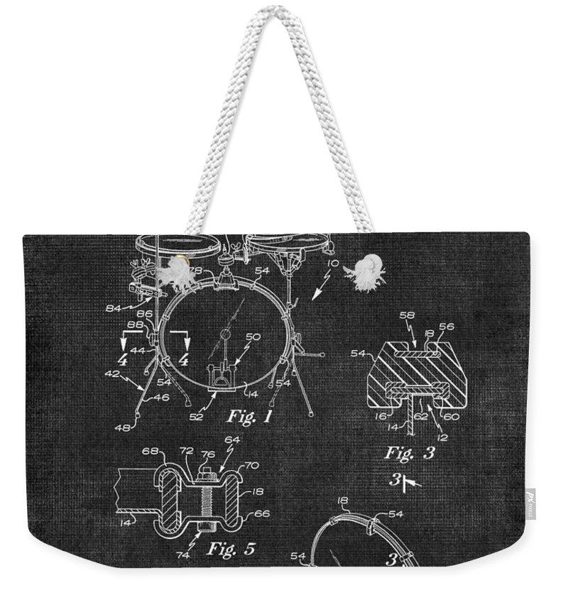 Portable Weekender Tote Bag featuring the digital art Portable Drum Set Patent 037 by Voros Edit