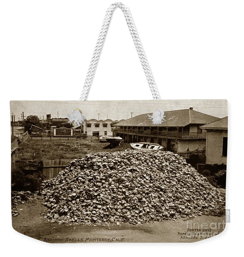 Porter Bro's. Pioneer Weekender Tote Bag featuring the photograph Porter Bro's. Pioneer Preparers Of Abalone Steaks. Monterey Circa 1920 by California Views Mr Pat Hathaway Archives