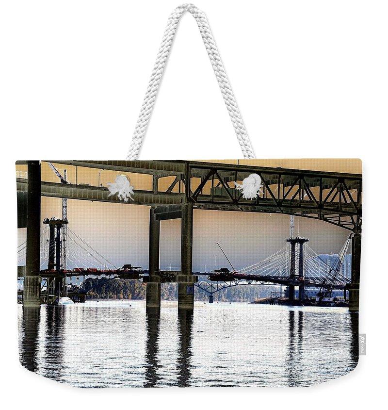 Portland Weekender Tote Bag featuring the photograph Portland Bridges by Rich Bodane