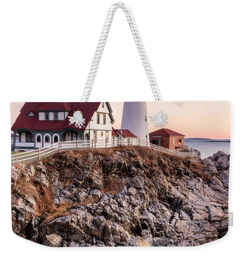 Portland Head Light Weekender Tote Bag featuring the photograph Portland Head Lighthouse Cape Elizabeth Maine by Dawna Moore Photography