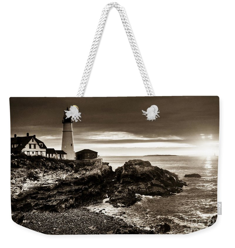 Sunrise Weekender Tote Bag featuring the photograph Portland Head Lighthouse Sunrise by Alana Ranney