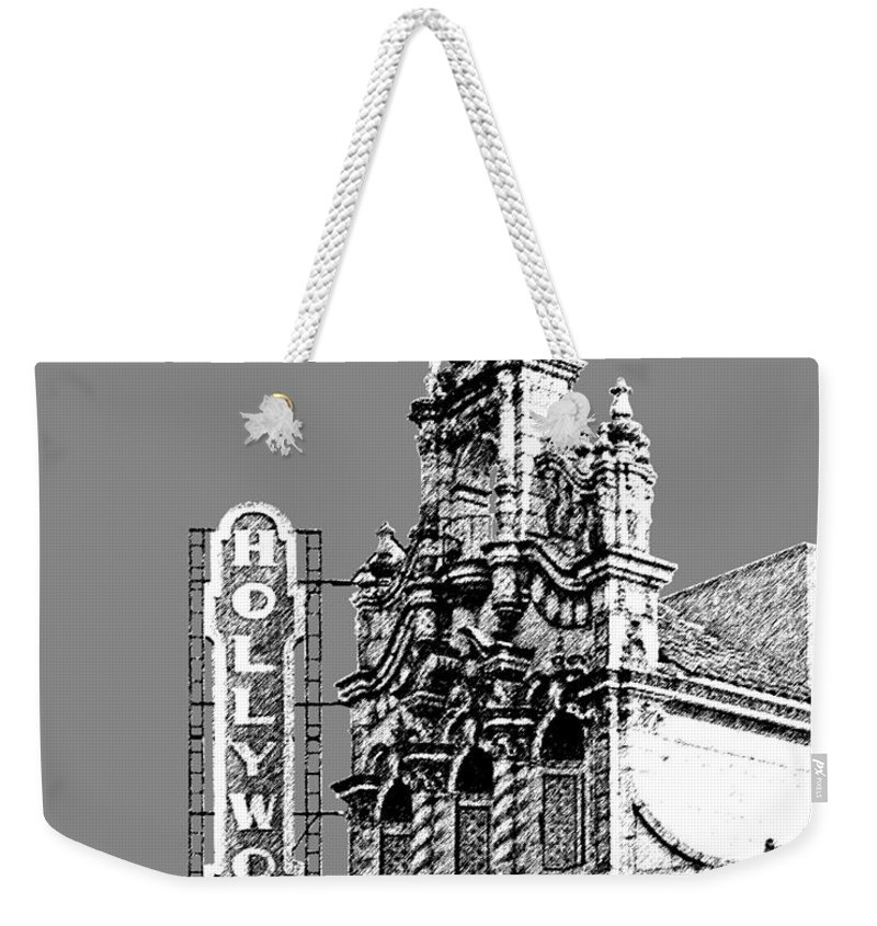 Architecture Weekender Tote Bag featuring the digital art Portland Skyline Hollywood Theater - Pewter by DB Artist
