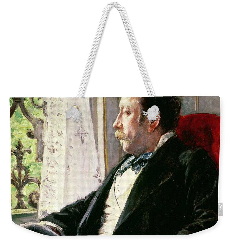 Portrait Weekender Tote Bag featuring the painting Portrait Of A Man by Gustave Caillebotte