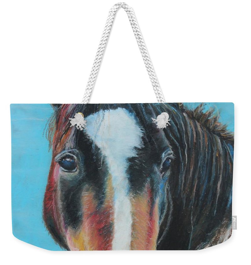 Horse Weekender Tote Bag featuring the painting Portrait Of A Wild Horse by Jeanne Fischer