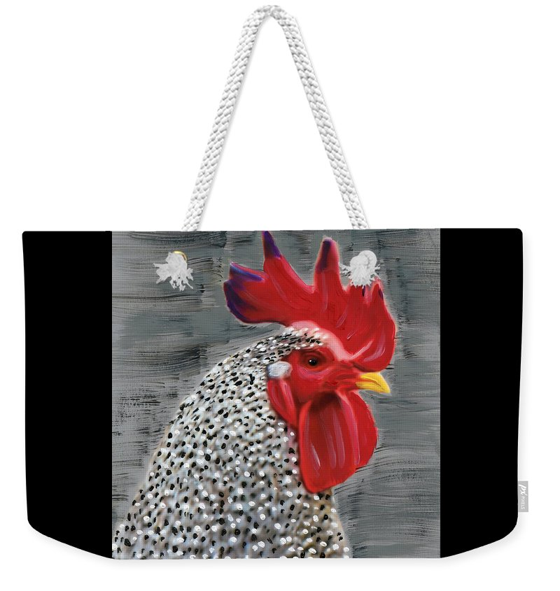 Rooster Weekender Tote Bag featuring the painting Portrait Of A Rooster by Deborah Boyd