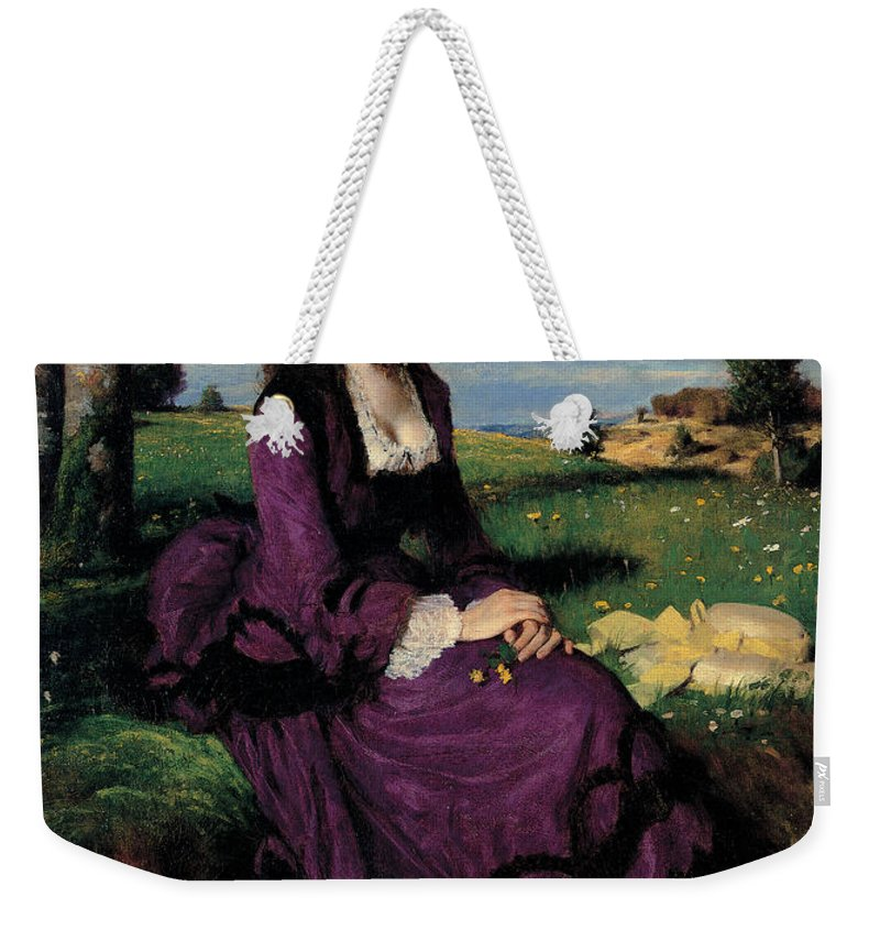 Hairdo Weekender Tote Bag featuring the painting Portrait Of A Woman In Lilac by Pal Szinyei Merse