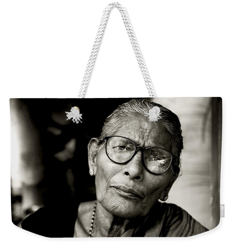 Women Weekender Tote Bag featuring the photograph Portrait Of A Woman In Madurai by Valerie Rosen