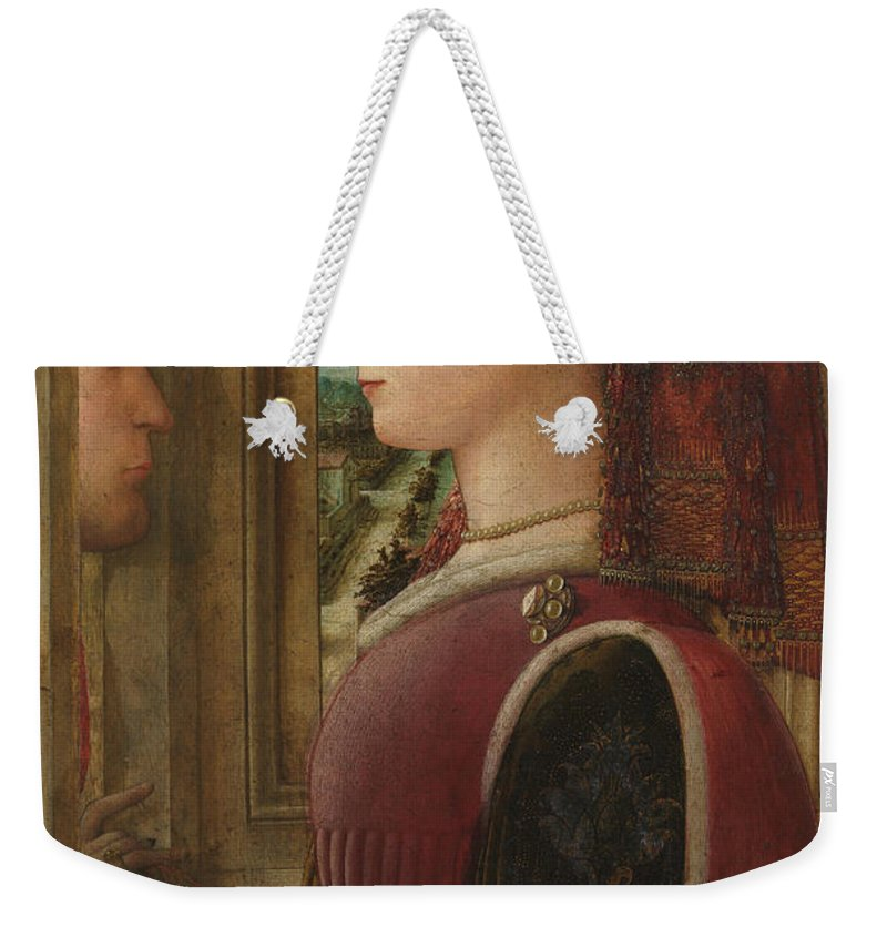 Fra Filippo Lippi Weekender Tote Bag featuring the painting Portrait Of A Woman With A Man At A Casement by Fra Filippo Lippi