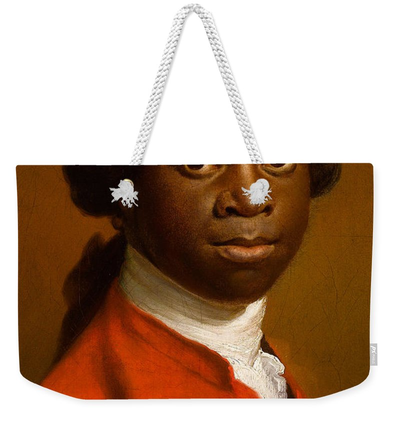 Male Weekender Tote Bag featuring the painting Portrait Of An African by Allan Ramsay