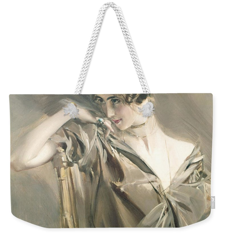 Female Weekender Tote Bag featuring the painting Portrait Of Cleo De Merode by Giovanni Boldini