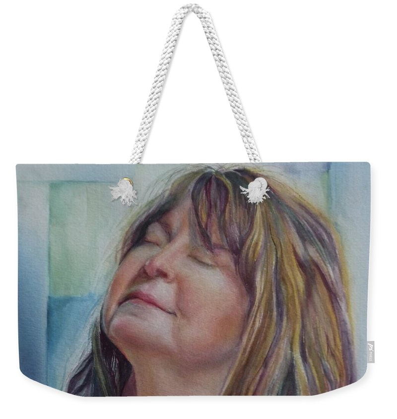 Commission Weekender Tote Bag featuring the painting Portrait Of Peg by Mary Beglau Wykes