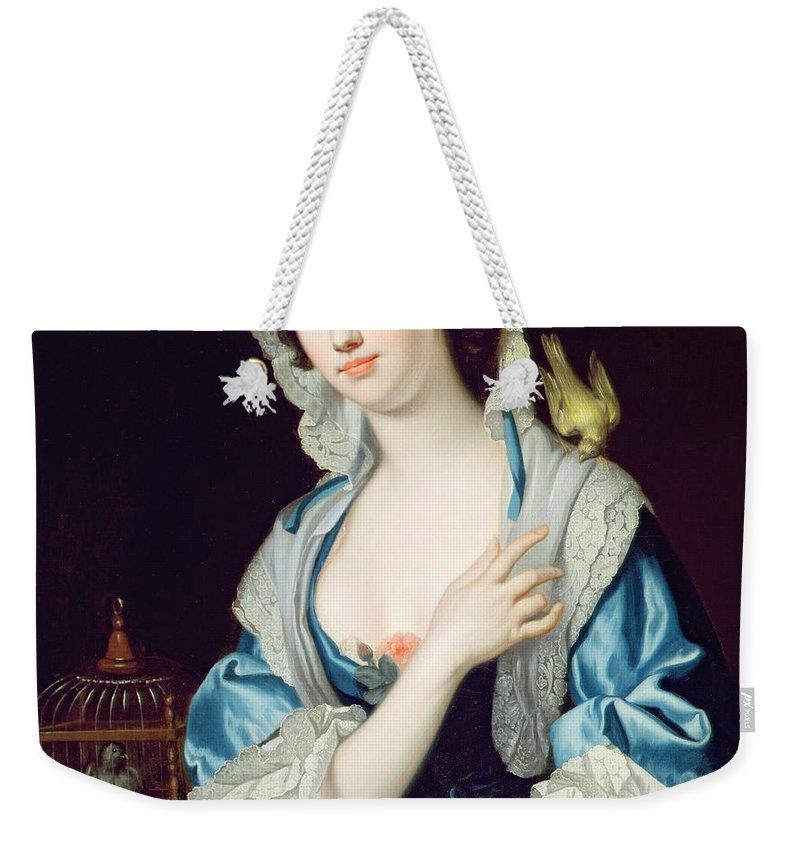 Female Weekender Tote Bag featuring the painting Portrait Of Peg Woffington by Jean-Baptiste van Loo