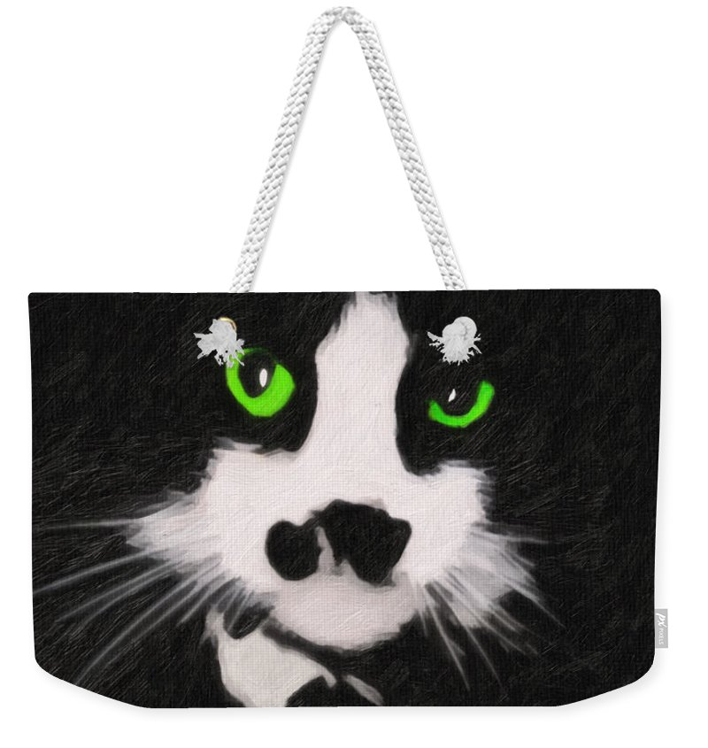 Cat Weekender Tote Bag featuring the digital art Portrait Of Riley by Terry Fiala