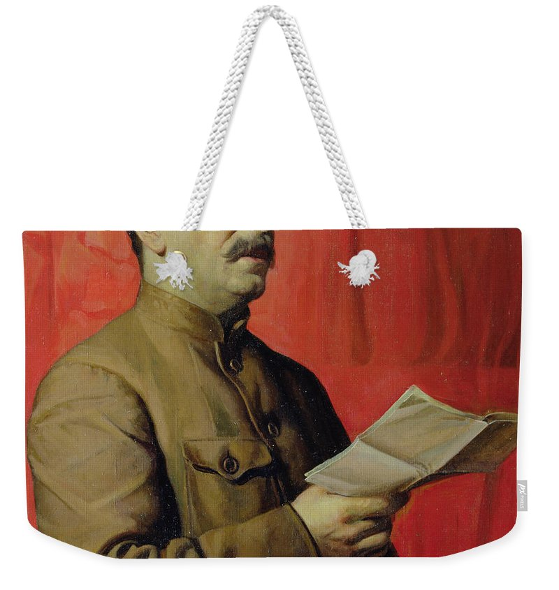Portrait; Joseph; Male; Dictator; Socialist; Communist; Communism; Moustache; Speaking; Orator; Oratory; Reading; Red; Statement; Despot Weekender Tote Bag featuring the painting Portrait Of Stalin by Isaak Israilevich Brodsky