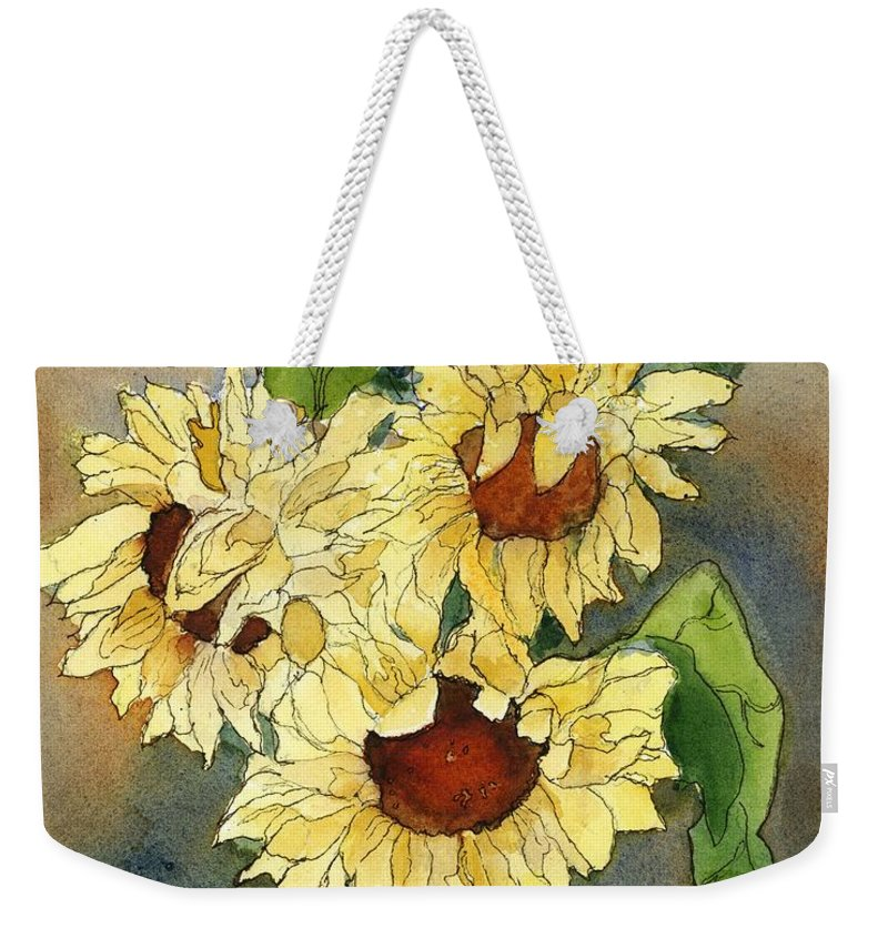 Sunflowers Weekender Tote Bag featuring the painting Portrait Of Sunflowers by Maria Hunt