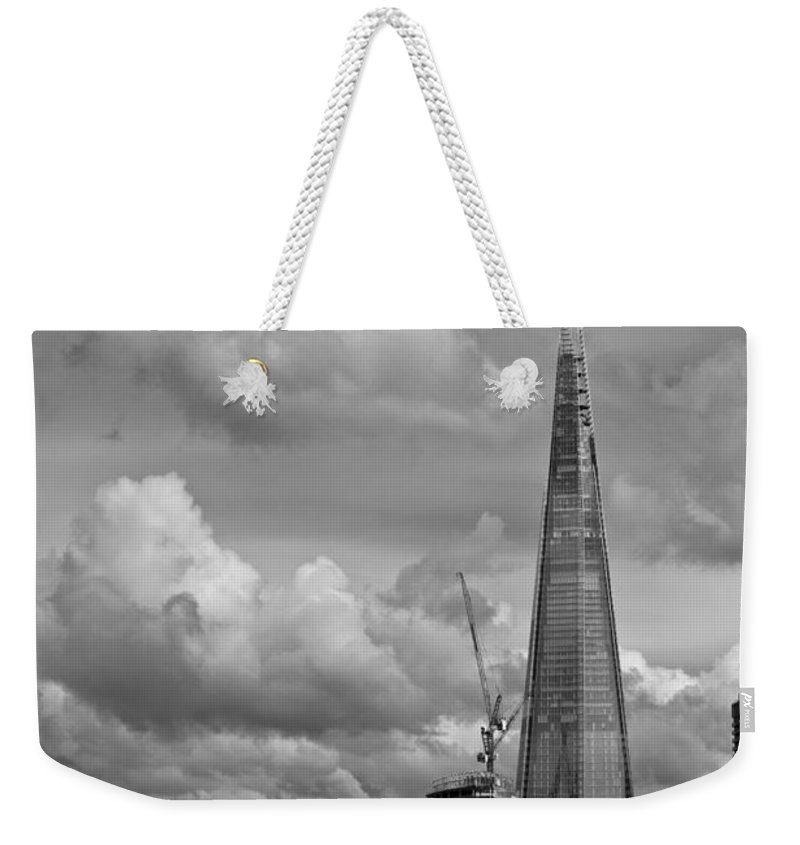 Shard Weekender Tote Bag featuring the photograph Portrait Of The Shard Black And White Version by Gary Eason