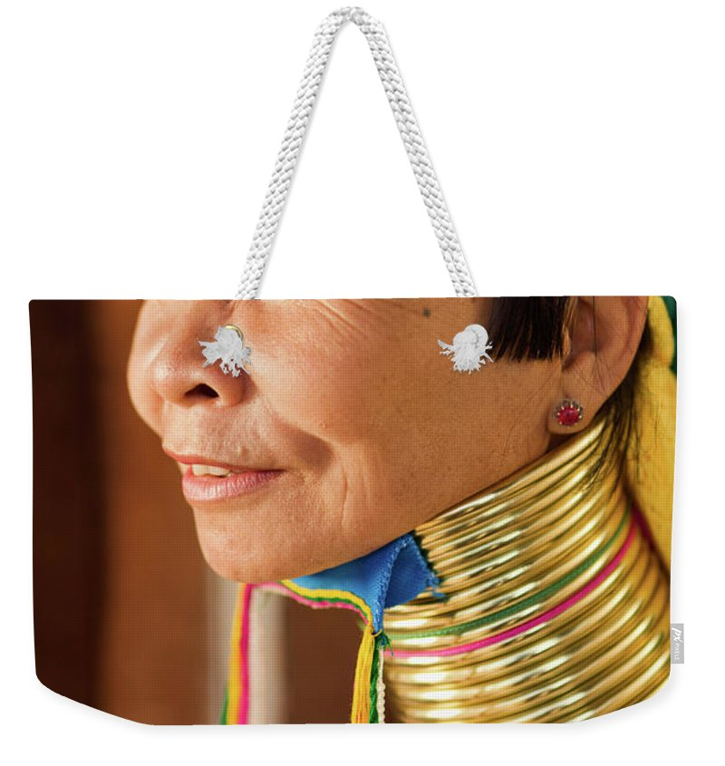 People Weekender Tote Bag featuring the photograph Portrait Of Woman From Long Neck by Hadynyah