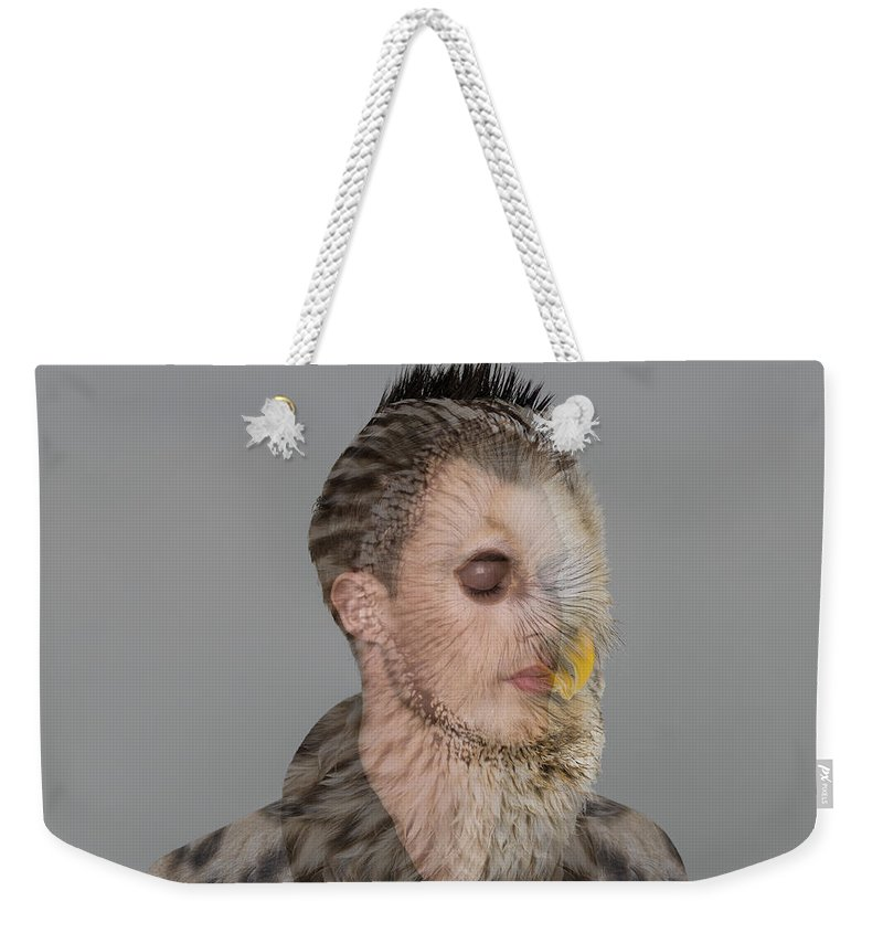 People Weekender Tote Bag featuring the photograph Portrait Of Young Man With Owl Overlay by Nisian Hughes