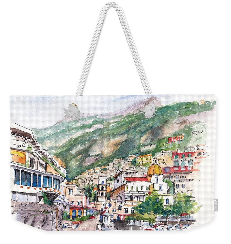 Amalfi Weekender Tote Bag featuring the painting Positano Bellissimo by Dai Wynn
