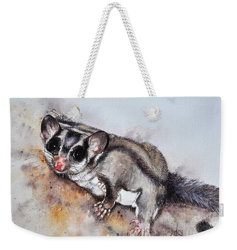 Possum Cute Sugar Glider............ Petaurus Breviceps Honey Possum Weekender Tote Bag featuring the painting Possum Cute Sugar Glider by Sandra Phryce-Jones