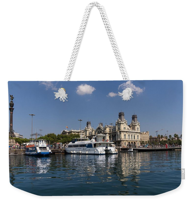 Barcelona Weekender Tote Bag featuring the photograph Postcard From Barcelona by Georgia Mizuleva