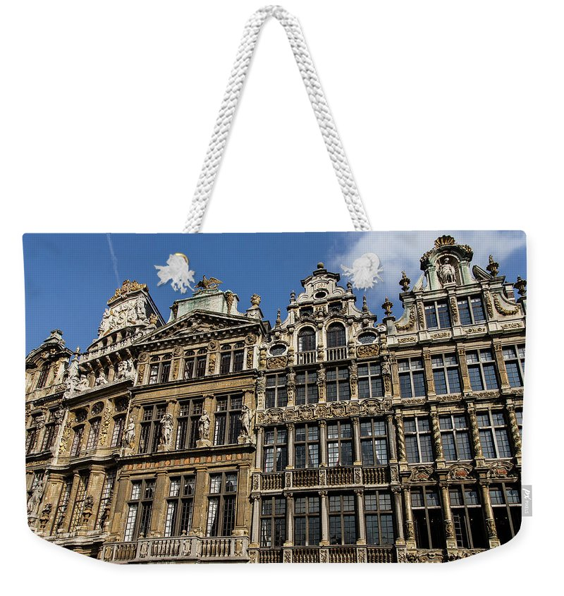 Georgia Mizuleva Weekender Tote Bag featuring the photograph Postcard From Brussels - Grand Place Elegant Facades by Georgia Mizuleva