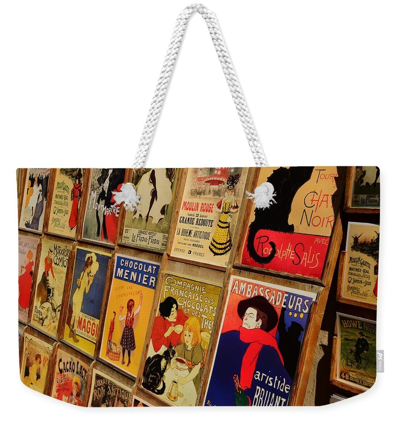 Paris Weekender Tote Bag featuring the photograph Posters In Paris by Dany Lison